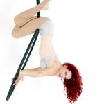 fiery red hoop performer