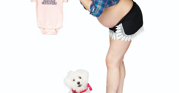 Pregnancy Pinup With Puppies